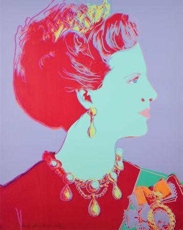 Serigrafía Warhol - Reigning Queens Series, Queen Margrethe II of Denmark (Violet)