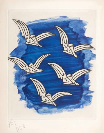 Libro Ilustrado Braque - René Char : LA BIBLIOTHÈQUE EST EN FEU. Avec une gravure originale de Georges Braque. 1956.
