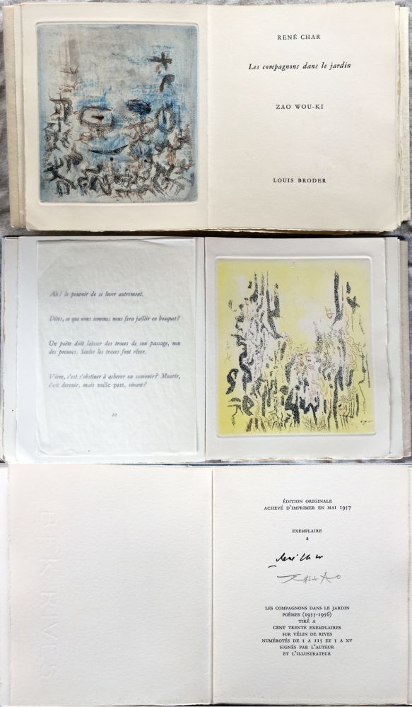 Libro Ilustrado Zao - René Char : LES COMPAGNONS DANS LE JARDIN. 4 gravures originales en couleurs (1957)