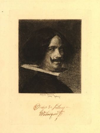 Grabado Fortuny I Marsal - Retrato de Velázquez