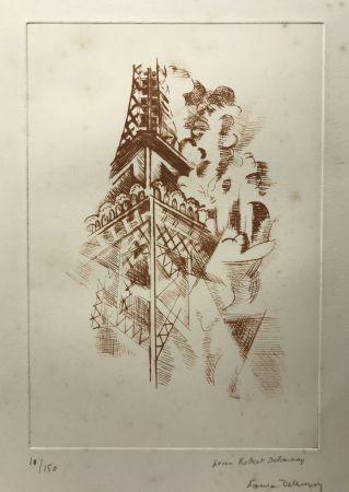 Aguafuerte Delaunay - Robert Delaunay (1885-1941)  Tour Eiffel. Eau-forte signée.