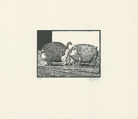 Linograbado Topor - Roméo et Juliette