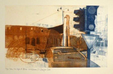 Aguafuerte Staufner - Rom, Via Kapo d'Africa – Kolosseum