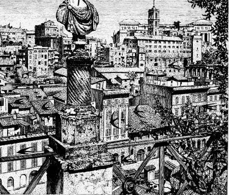 Aguafuerte Disertori - Roma. Veduta del monte Capitolino dagli orti Farnesiani