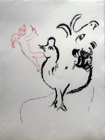 Litografía Chagall - Rooster, Goat And Fidler - Stage I