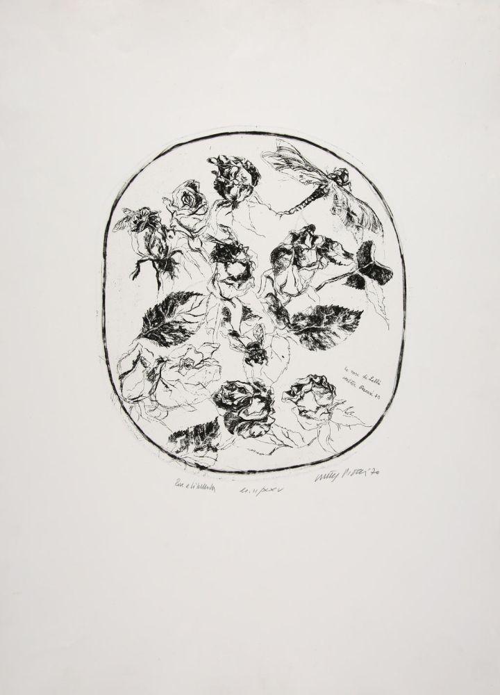 Aguafuerte Piacesi - Rose e libellula