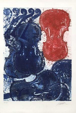 Grabado Arman - Rouge et bleu