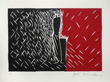 Linograbado Kuroda - Rouge et noir