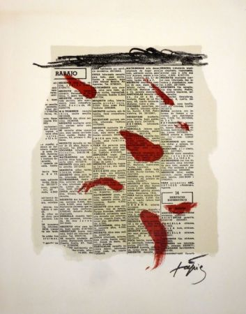 Litografía Tàpies - Rouge sur papier journal