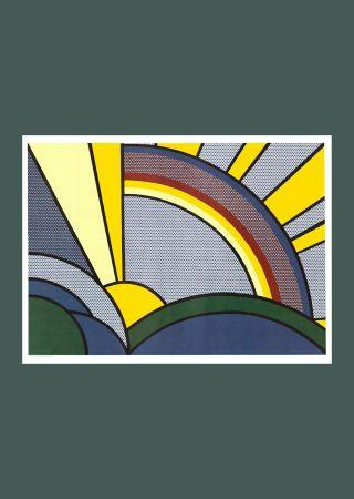 Serigrafía Lichtenstein - Roy Lichtenste n 'Modern Painting of Sun Rays' 1972 Original Pop Art Poster with COA