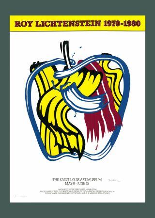 Serigrafía Lichtenstein - Roy Lichtenstein 'Apple' 1981 Hand Signed Original Pop Art Poster with COA