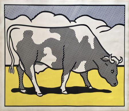Serigrafía Lichtenstein - Roy Lichtenstein 'Cow Going Abstract' 1982 Hand Signed Original Pop Art Diptych Poster Set
