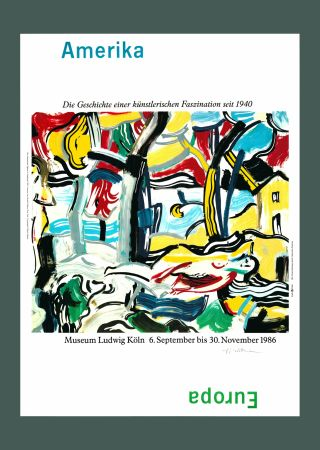 Litografía Lichtenstein - Roy Lichtenstein 'Figures in Landscape (Amerika/Europa)', Original Pop Art Poster, Hand Signed, 1986
