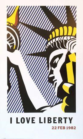 Litografía Lichtenstein - Roy Lichtenstein 'I Love Liberty' 1982 riginal Pop Art Poster with COA
