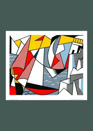 Litografía Lichtenstein - Roy Lichtenstein 'Sailboats' 1973 Original Pop Art Poster