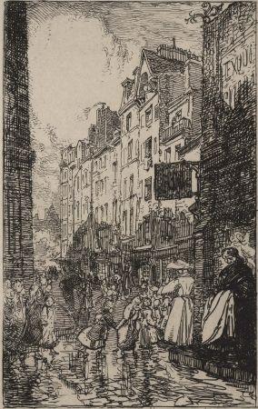 Grabado Lepere - Rue Boutebrie, le quartier St. Séverin