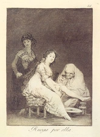 Aguafuerte Goya - Ruega por ella