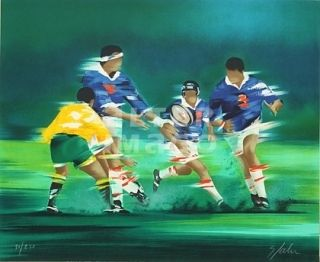 Litografía Spahn - Rugby