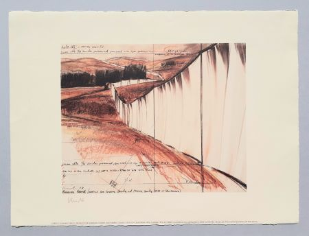 Litografía Christo - Running fence, project for Sonoma county and Marin county