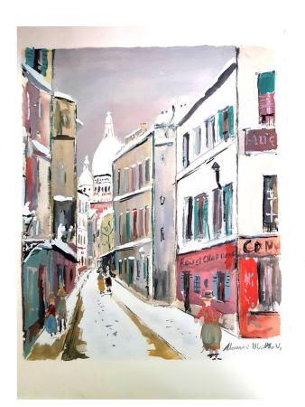Litografía Utrillo - Sacré Coeur - Village de Montmartre
