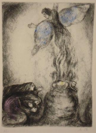 Aguafuerte Chagall - Sacrifice de Manoach