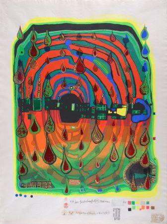 Serigrafía Hundertwasser - Sad not so sad is rainshine from Rainday on a rany day