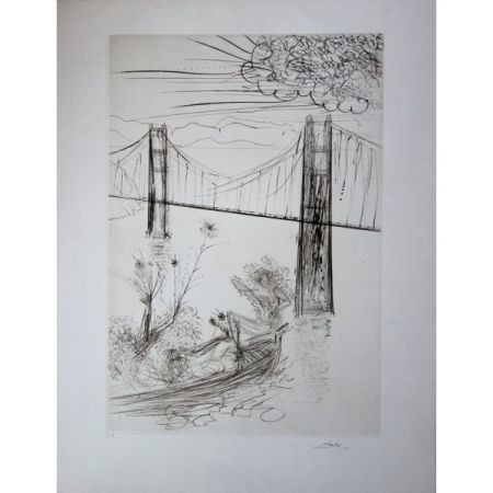 Grabado Dali - San Francisco : Golden Gate Bridge