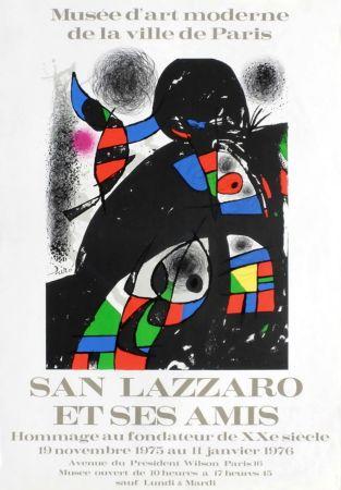 Cartel Miró - SAN LAZZARO ET SES AMIS. Hommage. Affiche originale .1975.