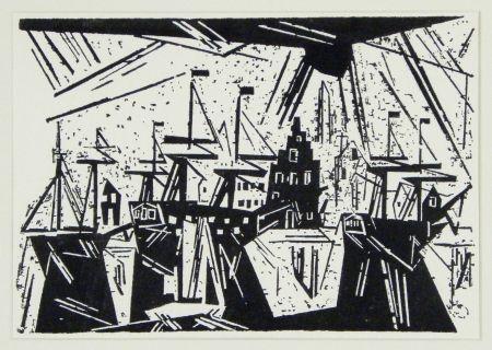 Grabado En Madera Feininger - Schiffe am Hafenquai