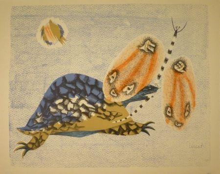 Litografía Lurcat - (Schildkröte und Libelle)