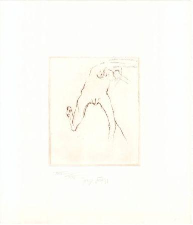 Aguafuerte Y Aguatinta Beuys - Schwurhand: Frau rennt weg mit Gehirn