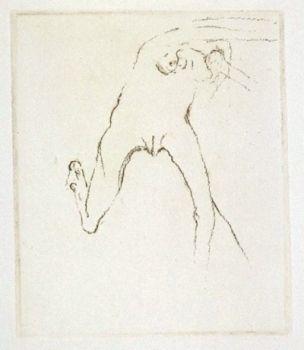 Grabado Beuys - Schwurhand: Frau rennt weg mit Gehirn