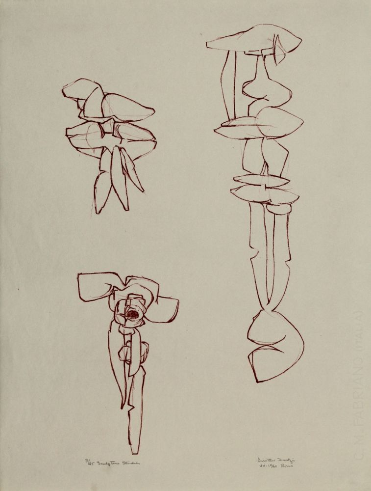 Litografía Hadzi - Sculpture Studies