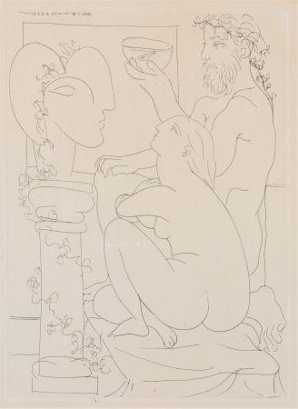 Aguafuerte Picasso - Sculteur avec couple et modele accroupì.