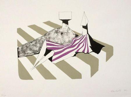 Litografía Chadwick - Seated Figures on Stripes II