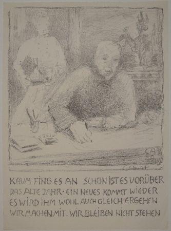 Litografía Amiet - Selbstbildnis am Zeichentisch mit Frau
