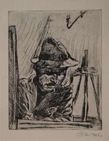Grabado Meidner - Selbstbildnis (mit Hut im Atelier)