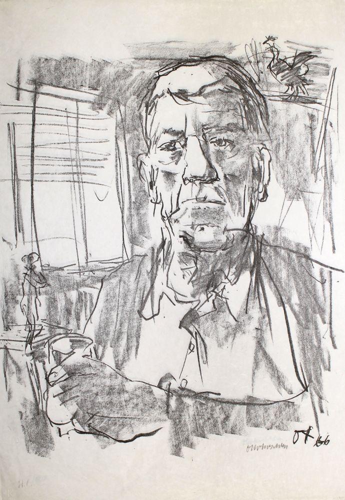 Litografía Kokoschka - Selbstbildnis mit Statuette