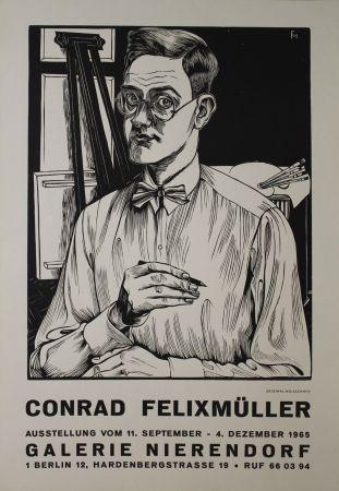 Grabado En Madera Felixmuller  - Selbstbildnis mit Zeichenstift