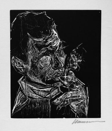Grabado En Madera Hansen-Bahia - Selbstbildnis, rauchend / Self-Portrait, Smoking
