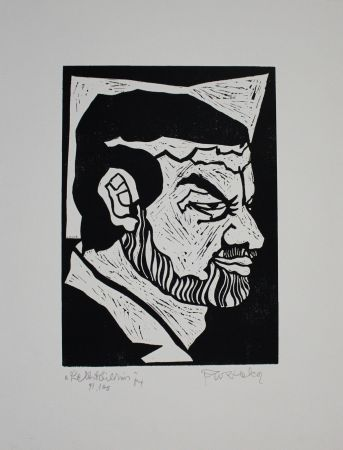 Linograbado Ruzicka - Selbstbildnis / Self-Portrait
