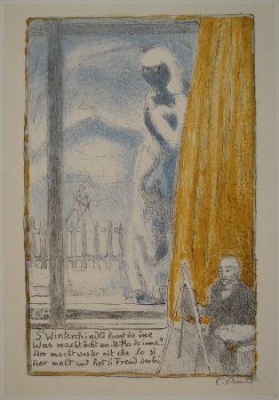Litografía Amiet - Selbstbildnis vor der Staffelei (Winterbild)