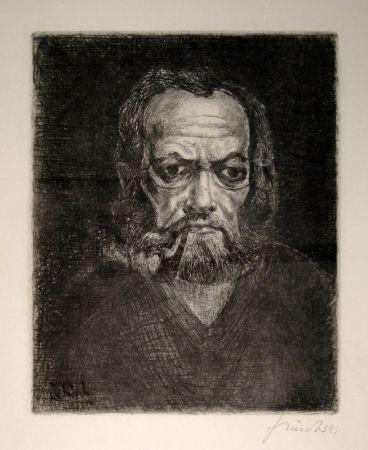 Grabado Schürch - Selbstporträt en face mit Pfeife