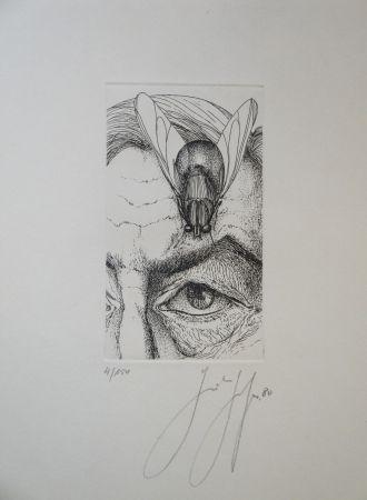 Grabado Grass - Selbstporträt mit Fliege