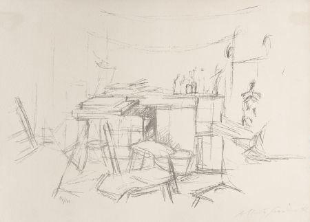 Litografía Giacometti - Sellette et tabourets dans l'atelier I