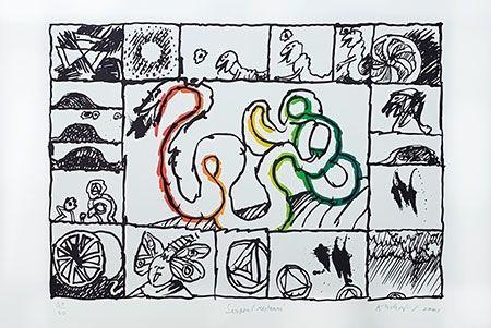 Litografía Alechinsky - Serpent restauré