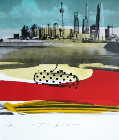 Litografía Soulie - Shanghai le Bund