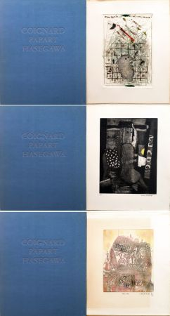Aguafuerte Y Aguatinta Hasegawa - SHOICHI HASEGAWA - JAMES COIGNARD - MAX PAPART : HOMME DANS LA VILLE. 3 GRAVURES ORIGINALES