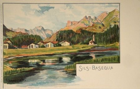 Litografía Giacometti - Sils-Baseglia / Samaden / Sils-Maria / Silva Plana mit Piz Margna / Maloja / Der Schafberg