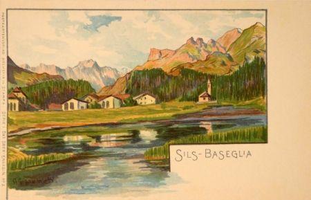Litografía Giacometti - Sils-Baseglia / Samaden / Sils-Maria / Silva Plana mit Piz Margna / Maloja / St.Moritz / Der Schafberg / Forno-Gletscher.